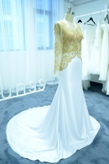 Gold and White Mermaid Prom Dress with Chapel Train