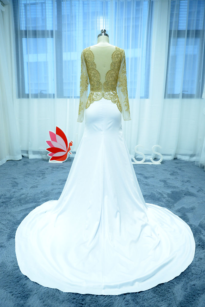 Gold Lace Top and White Satin Mermaid Prom Dress with Chapel Train ...