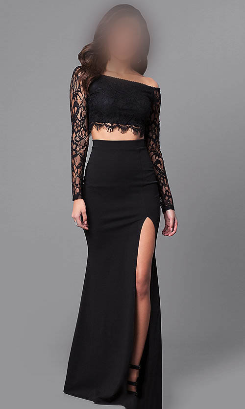 Black Off The Shoulder Long Sleeve Mermaid Two Piece Lace