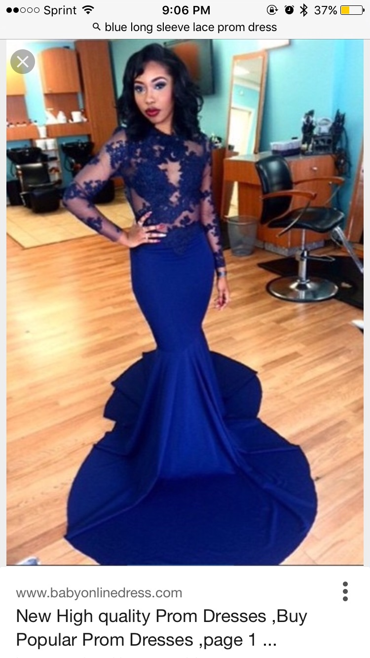 Blue Prom Dress Combined with Illusion Sequined Lace Top and Jersey ...