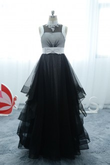 black and white satin tulle bow dress