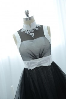 black and white satin tulle dress