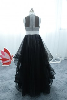 black and white satin tulle dress with layered skirt attached