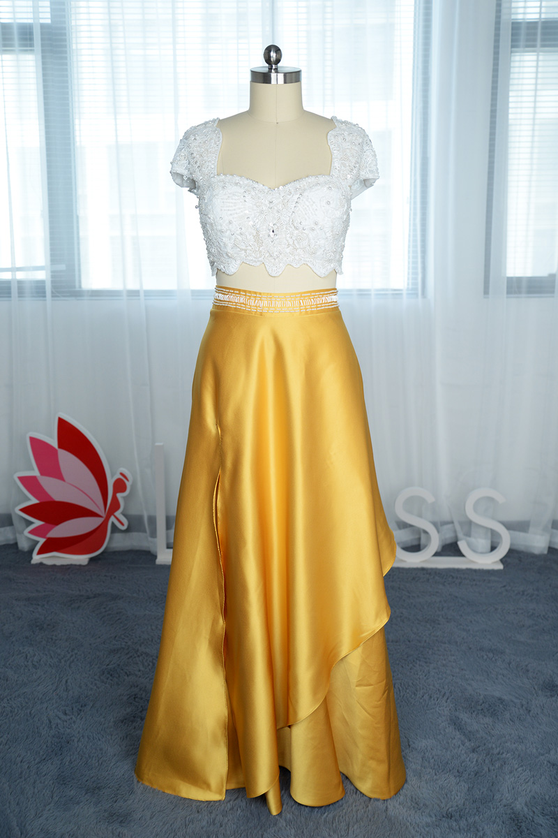 29bc8c22b4ed Beaded White Lace Top and Gold Colored Bottom Two-piece Prom Dress ...