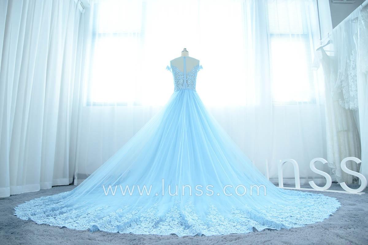 Customized Illusion Beaded V-neck Luxury Sky Blue Mermaid Prom Dress ...