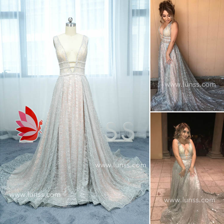 Sleeveless Plunging V neck Sparkly Silver Prom Dress with Long Train