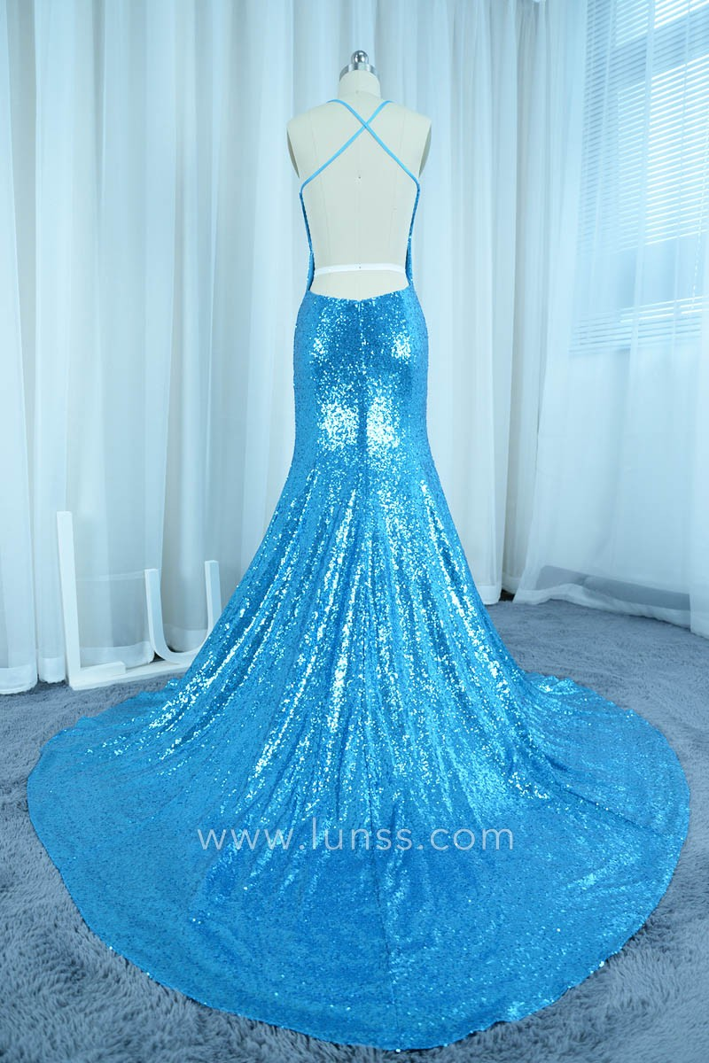 Blue Sequined Hater Sweetheart Neckline Mermaid Prom Dress ...