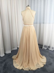 champagne lace dress altered A line chiffon skirt