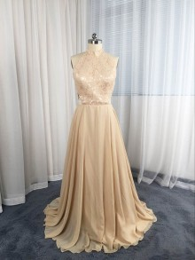 choker neckline champagne lace dress altered A line chiffon skirt