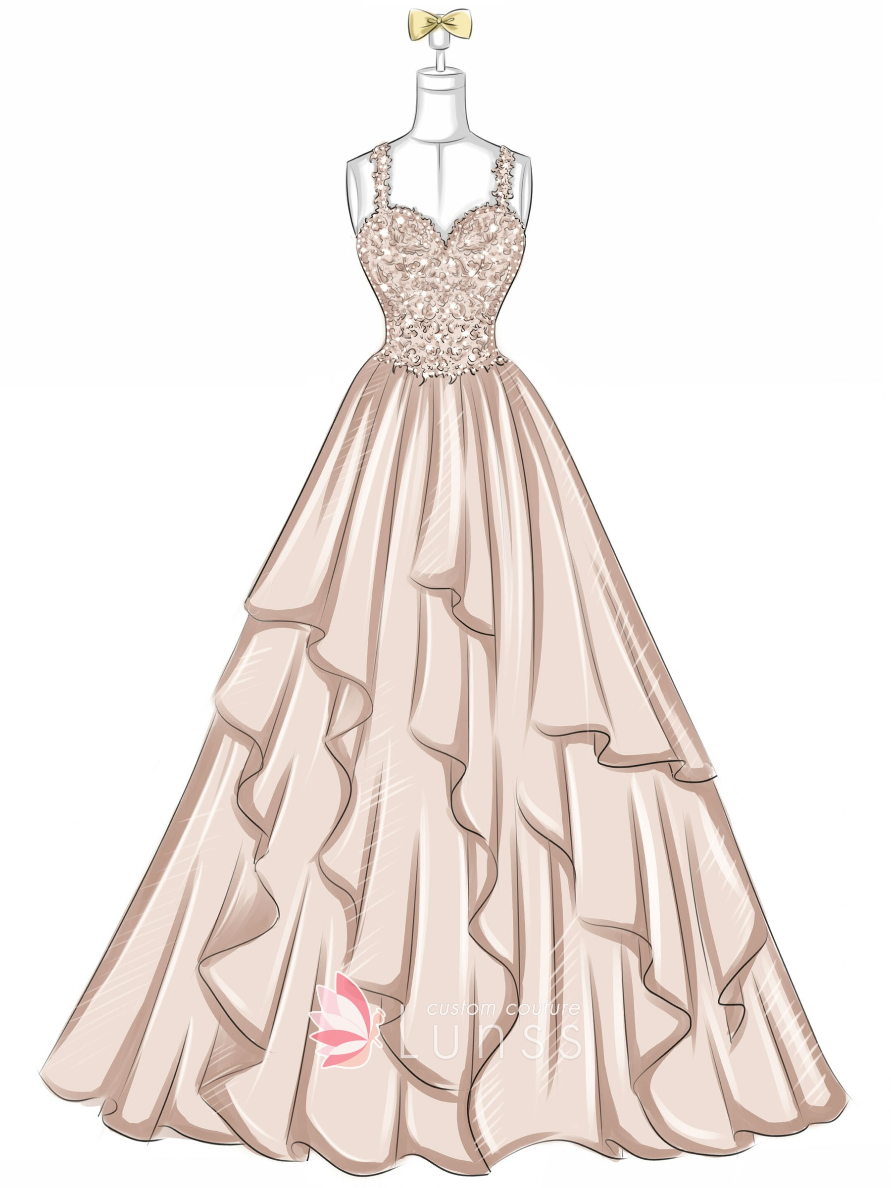Beaded Sweetheart Peach Layered Tulle Prom Dress Lunss
