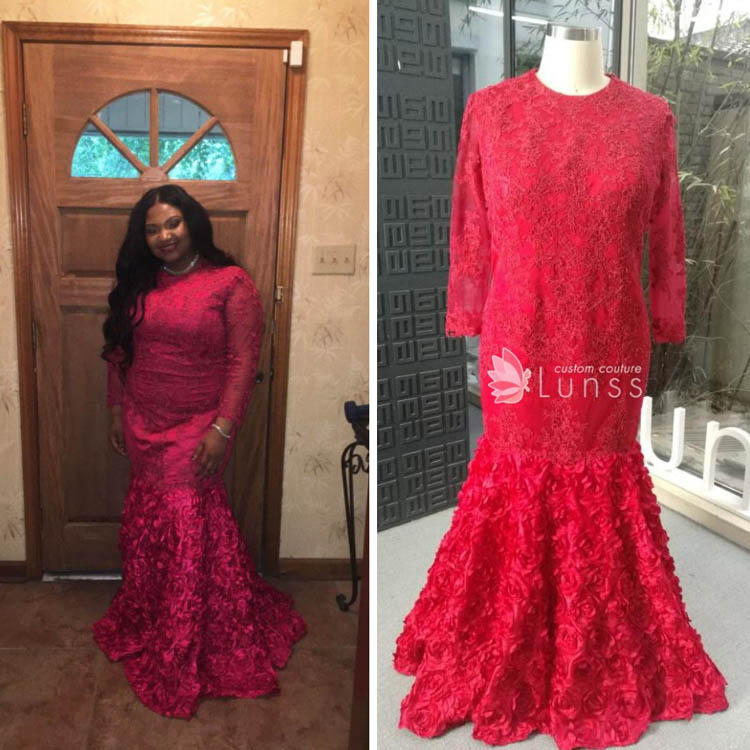 51896a9a Long Sleeve Turtle Neck Red Lace Mermaid Custom Prom Dress with 3D Floral  Bottom - Custom Design - Lunss Couture
