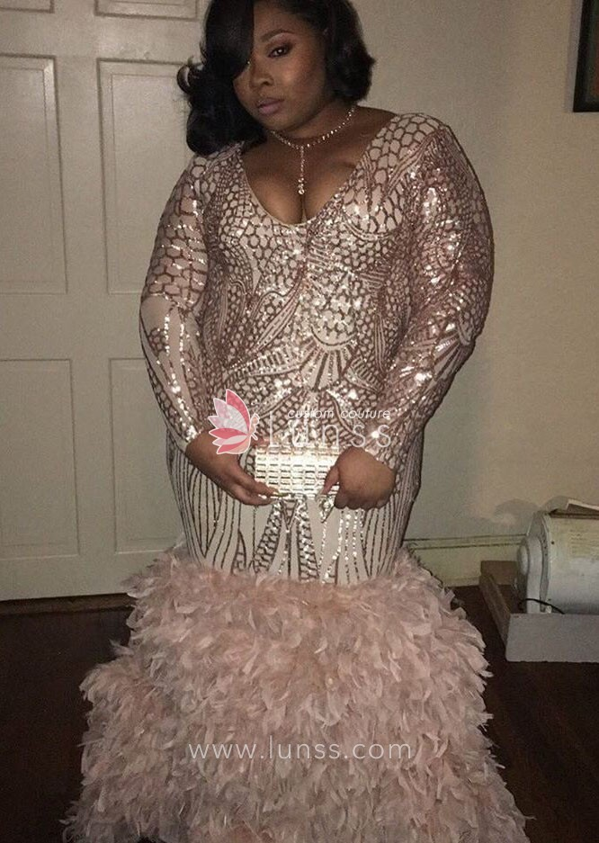 Champagne Color Sequin and Ostrich Hair Plus Size Custom Prom Dress ...