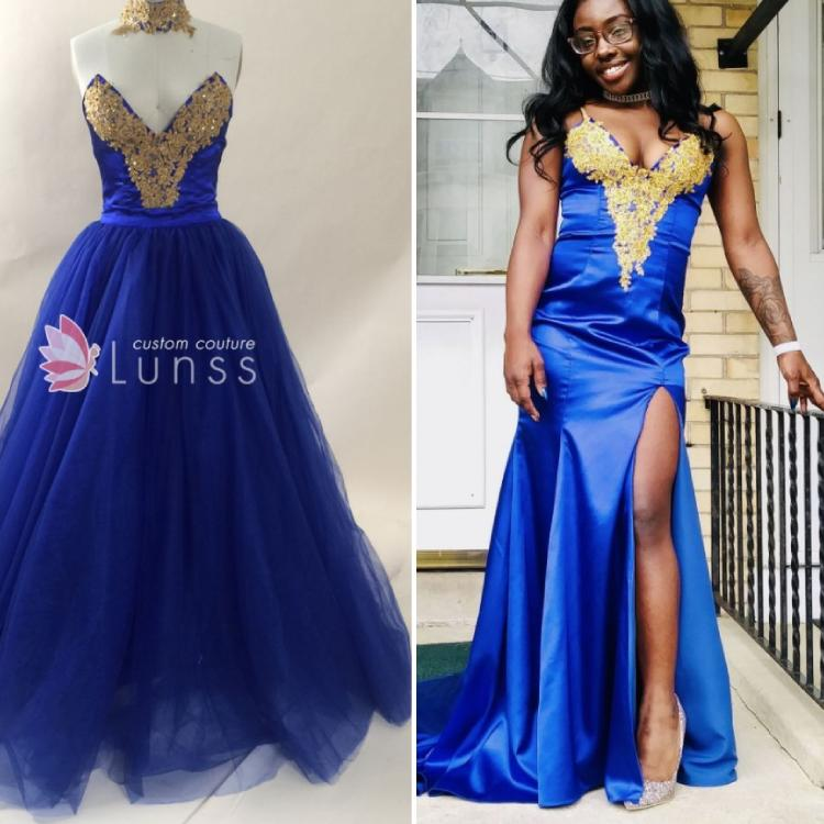 25ca3a139e2 Beautifully Hand Made Beaded Gold Lace Appliqued Royal Blue Prom Dress