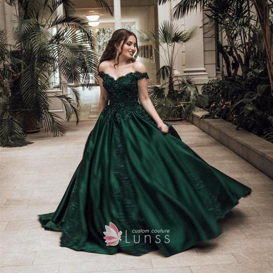 Amazing Emerald Green Satin Full Skirt Off The Shoulder Custom Prom