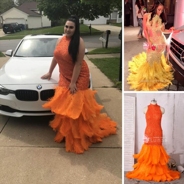 Bright Orange Mermaid Prom Dresses Bright Orange Feathers...