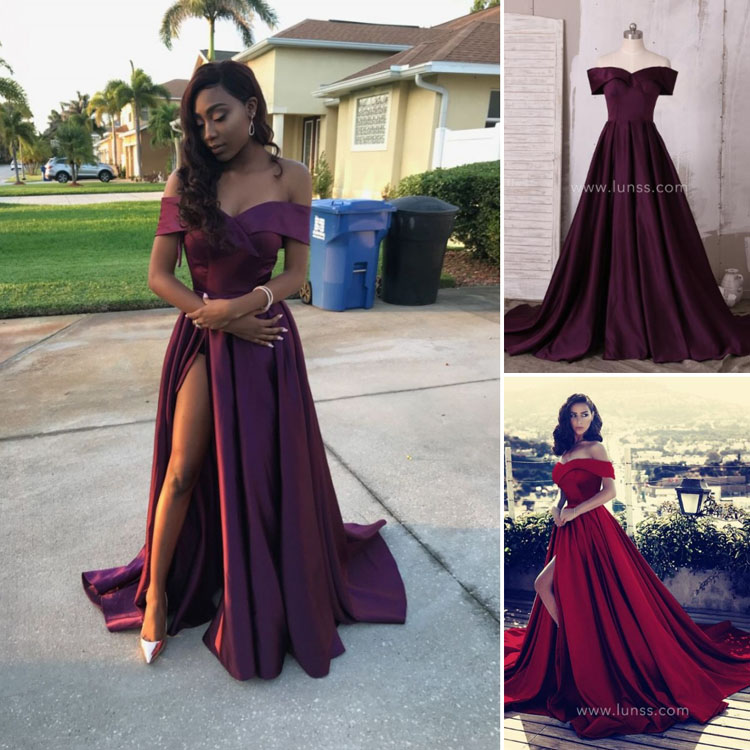 11982d3d8e Off-the-shoulder Plum A-line Long Satin Custom Prom Dress with High