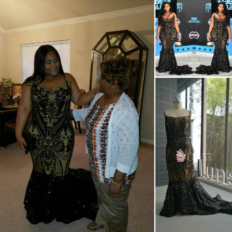 ed66f1df18e8d Black Embroidered Sequin Customized Plus Size Mermaid Prom Dress with  Spaghetti Straps