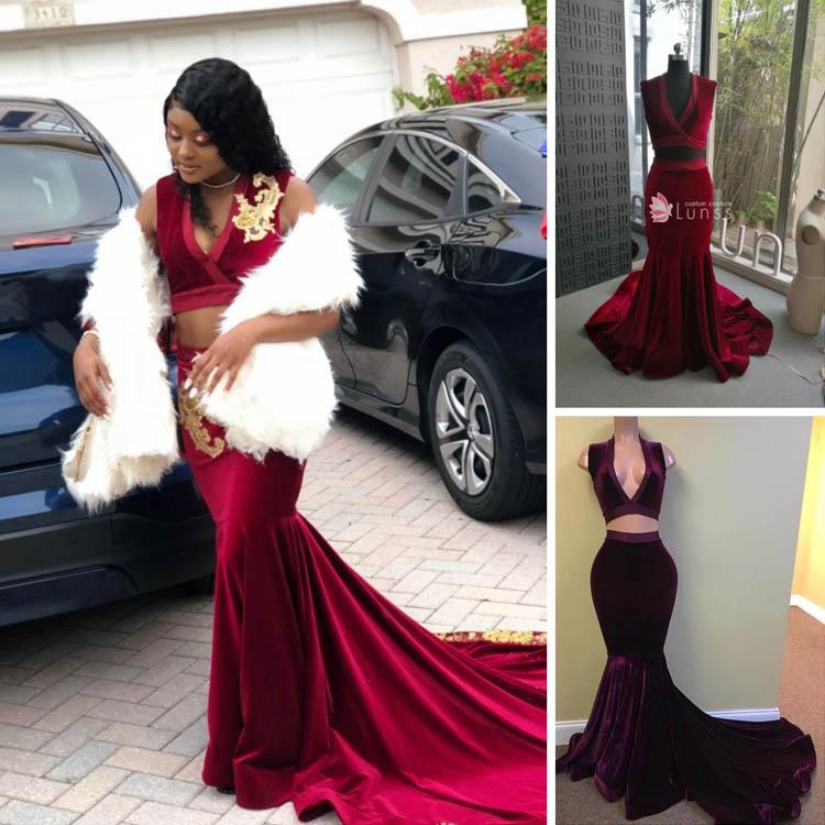 Reviews Of Custom Made Burgundy Velvet Mermaid Two Piece Prom Dress b9c1b08d3