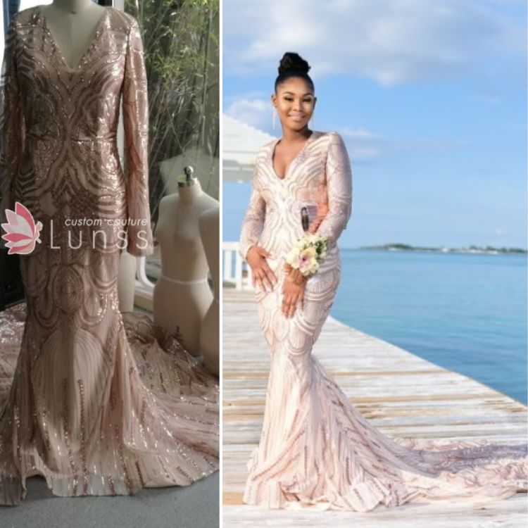 1d67f5356bc9 Custom Made Prom Dress with Long Train and Long Sleeves