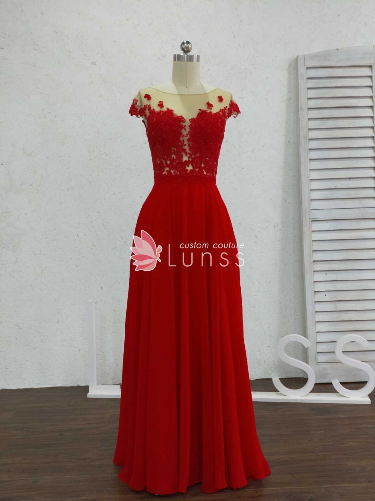cd43f9c439f Red See-through Lace Open Back Custom Graduation Prom Dress with ...