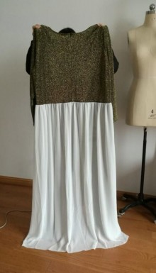 1cd601186d37 I have informed our tailor to remake the jumpsuit of below silver stretchy  fabric with white chiffon overskirt.