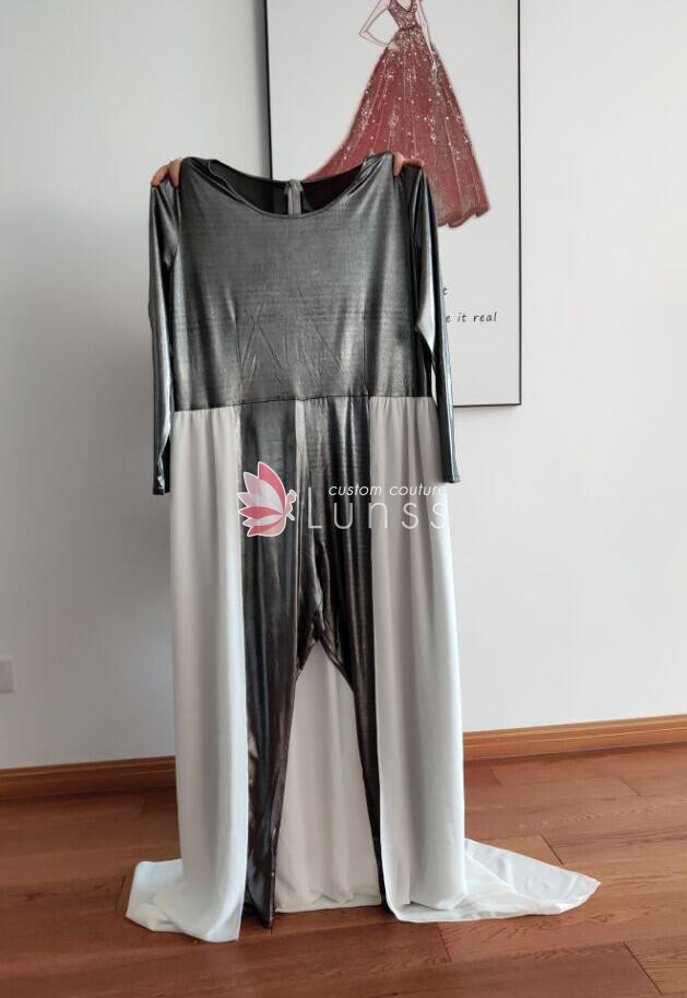 a249d1d3f762 Silver Spandex Jumpsuit with White Overskirt Wedding Anniversary ...