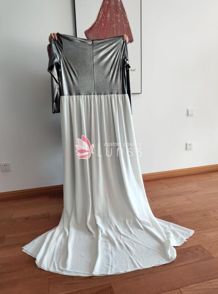 f8f0ce78dab7 ... overskirt wedding anniversary dress · silver spandex jumpsuit with white  overskirt