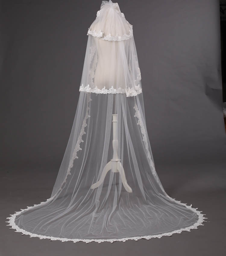 Royal Three Tier Lace Applique Decorated Chapel Length