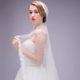 beaded pearl decorated single tier tulle wedding veil scalloped edge 1