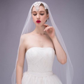 embroidered cathedral length bridal veil handmade tulle wedding cap veil 1