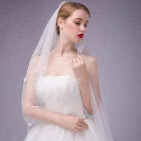 embellished flower cathedral length wedding veil illusion tulle 1