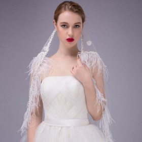 white floor length gorgeous bridal veil feather decorated wedding veil 1