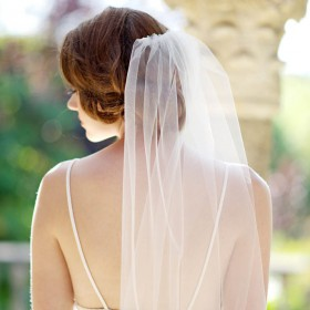 single tier chapel length soft tulle long bridal veil 1