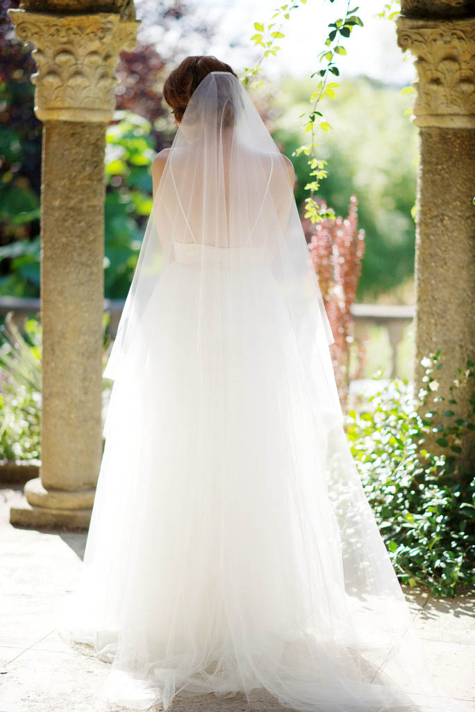 Ivory Floor Length One Tier Illusion Tulle Summer Bridal