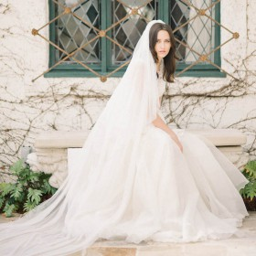 cascading single layer cathedral length illusion raw cut bridal veil 1