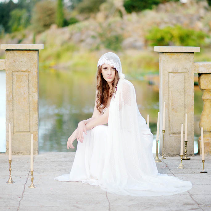 dd6a0a4b7b Scalloped Lace Cap Veil Dotted Chapel Length Wedding Veil - Lunss Couture