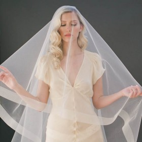 Cascading Single Tier Cathedral Length Bridal Veil Ribbon Edge 1