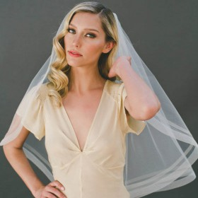 handmade elbow length bridal veil ribbon edge wedding tulle veil