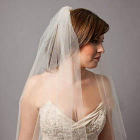 champagne elbow length single tier tulle classic bridal veil short cut edge