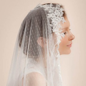 gorgeous lace decorated single tier dotted tulle chapel bridal veil