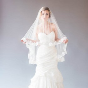 embellished scalloped lace edge versatile tulle fingertip length bridal wedding veil