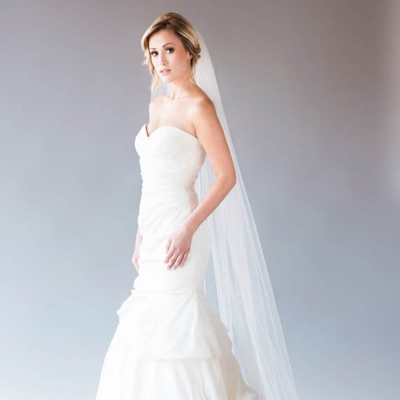 Ivory One Tier Simple Long Bridal Tulle Veil Wedding Cathedral Veil