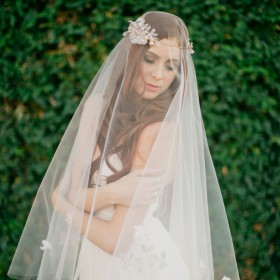 boho wedding ivory drop veil fingertip length single tier veil