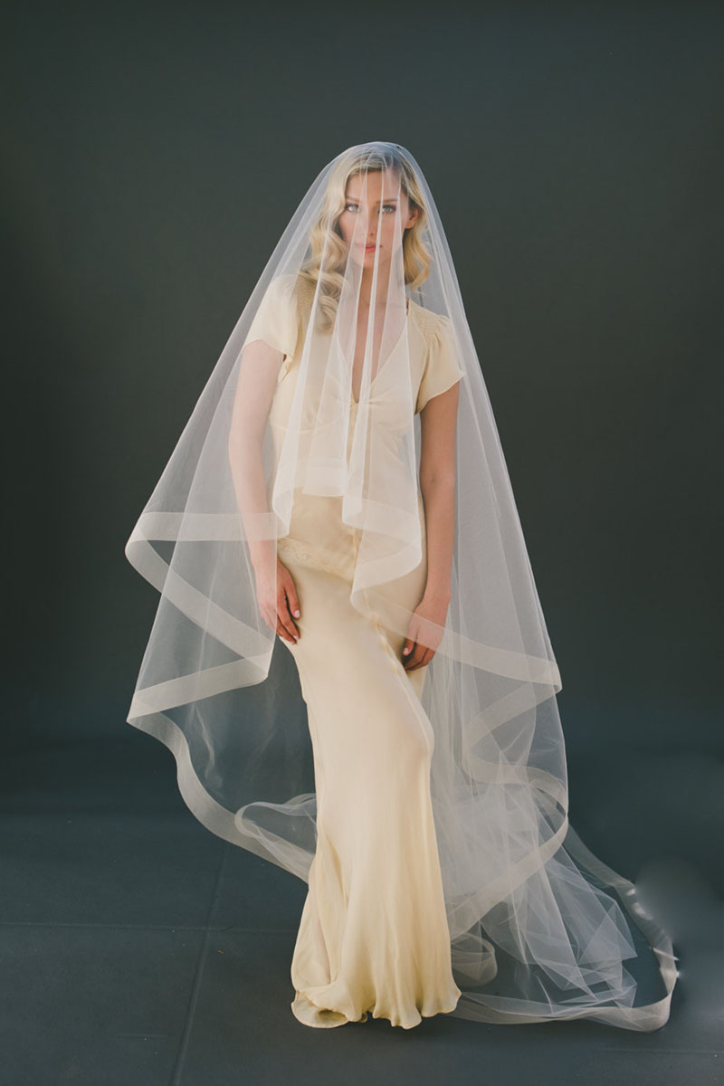 Champagne Handmade Cathedral Length Veil Two Tier Drop