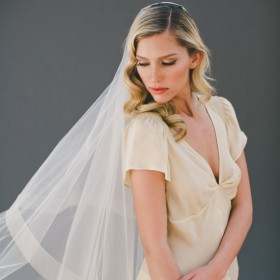 champagne handmade cathedral length veil two tier drop veil 1