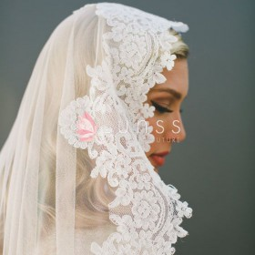 timeless corded lace wedding veil fingertip length veil single tier