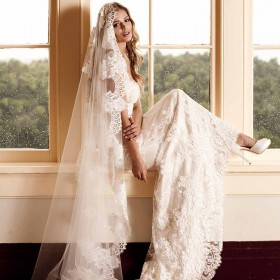 cathedral length wedding veil handmade lace single tier veil 1