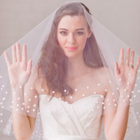 short handmade elbow length veil chic dotted drop veil 1