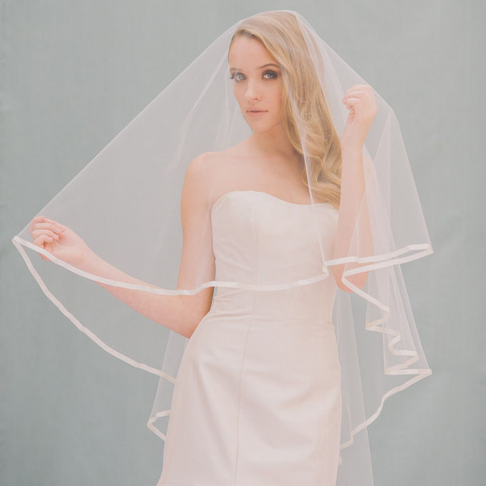 Ribbon Edging Drop Veil Fingertip Length Wedding 1