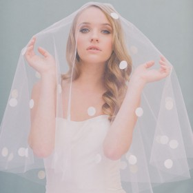 short dotted drop veil elbow length single tier wedding veil 1